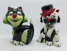 Lorna Bailey Growler the Cat and Fred Astaire inspired Moonlight the Cat, both approximately 14cm
