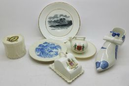 Four items of crested china, a Southwell Minster drum and three Nottingham, a Nottingham view