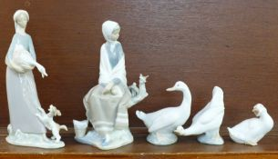 Two Lladro porcelain figures, Girl with Goose and Dog, no. 4866 issued 1974-1993, 26.5cm; New