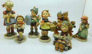 Seven Hummel figures, three a/f