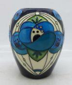 A Moorcroft vase (shape no. 102/3) in the Rennie Rose Blue design by Rachel Bishop, 8cm
