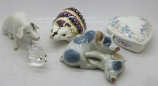 Two Royal Copenhagen pig figures, a Royal Crown Derby hedgehog paperweight, a Wedgwood dish and a