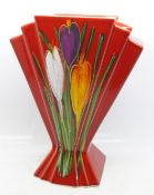 An Art Deco style fan vase in the Crocus pattern by Anita Harris, signed on the base, 21cm