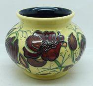 A Moorcroft vase, Chocolate Cosmos design (shape no. 520/5) designed by Rachel Bishop, 10cm