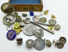 Victorian solitaire buttons, an Art Deco style bulldog figure, badges, a compass, etc.