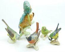 Five Goebel bird figures, Yellow Wagtail a/f (beak)