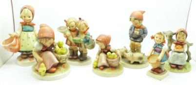 Seven Hummel figures including Chick Girl and Going To Grandmas