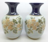 A pair of Langley stoneware vases, 20cm