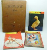 Three photo guide magazines, March, August and September and a Preview 1950 book
