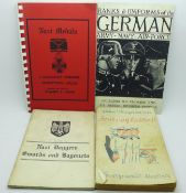 Military books: German ranks and uniforms, Nazi daggers, swords and bayonets, Nazi medals and German