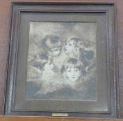 An oak framed print, Heads of Angels, Sir Joshua Reynolds, P.R.A.