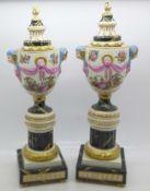 A pair of continental candlesticks, a/f, 28cm