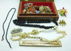 Vintage costume jewellery; coral necklaces, pique brooch, etc.
