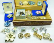 Approximately fifty brooches in a jewellery box