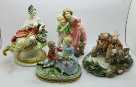 A Royal Worcester figure modelled by F.G. Doughty and three Neapolitan figures, two a/f