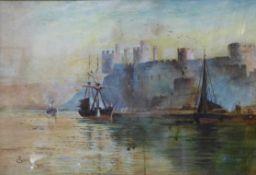 T. Gourley, coastal landscape with a castle, watercolour, 25 x 37cms, framed