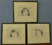 Chinese School, set of three paintings on pith paper, 11 x 16cms, framed