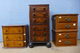 Three Victorian walnut table top chest