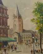 Italian School (mid 20th Century), town square scene, oil on board, unsigned, 51 x 40cms, framed