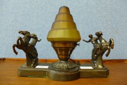 An Art Deco spelter table lamp