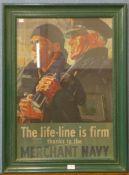 A Merchant Navy poster, framed