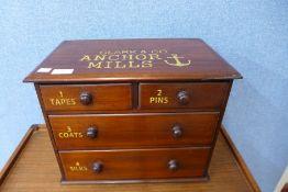 A mahogany counter top shop cabinet, bearing Clark & Co. Anchor Mills inscription, 32cms h x 41cms w