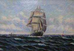 Dutch School, marine landscape, oil on canvas, indistinctly signed, 47 x 69cms, framed