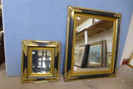 Two ebonised and parcel gilt framed mirrors