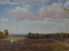 * Goldie, rural landscape, watercolour, 24 x 34cms, framed