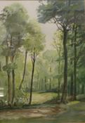 G. Rees Teesdale, Clearing in the Wood, watercolour, 47 x 33cms, framed