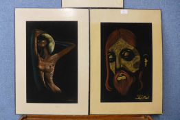 Three African School mixed media paintings on felt, all indistinctly signed, unframed