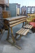 A Victorian pine and iron school desk
