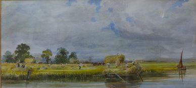 After Peter De Wint (1784-1849), The Trent Near Burton, watercolour, 22 x 48cms, framed