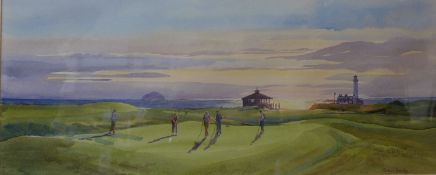 Michael Crawley, The Ailsa, Turnberry Golf Course, watercolour, 26 x 66cms, framed