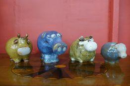 Four glazed terracotta studio pottery animals