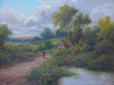 A.E. King, figures on a rural country path, oil on canvas, 29 x 39cms, framed