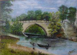 J. Bullock, two landscapes, watercolour, framed