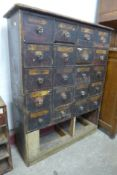 A Victorian stained pine apothecary cabinet