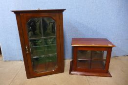 Two Edward VII mahogany table top display cabinets, largest; 54cms x 36cms