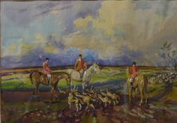 Michael Crawley, A Day Out with The Meynell, watercolour 18 x 25cms