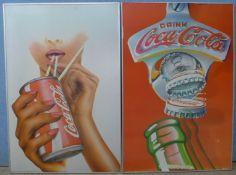Two vintage Coca-Cola advertising prints