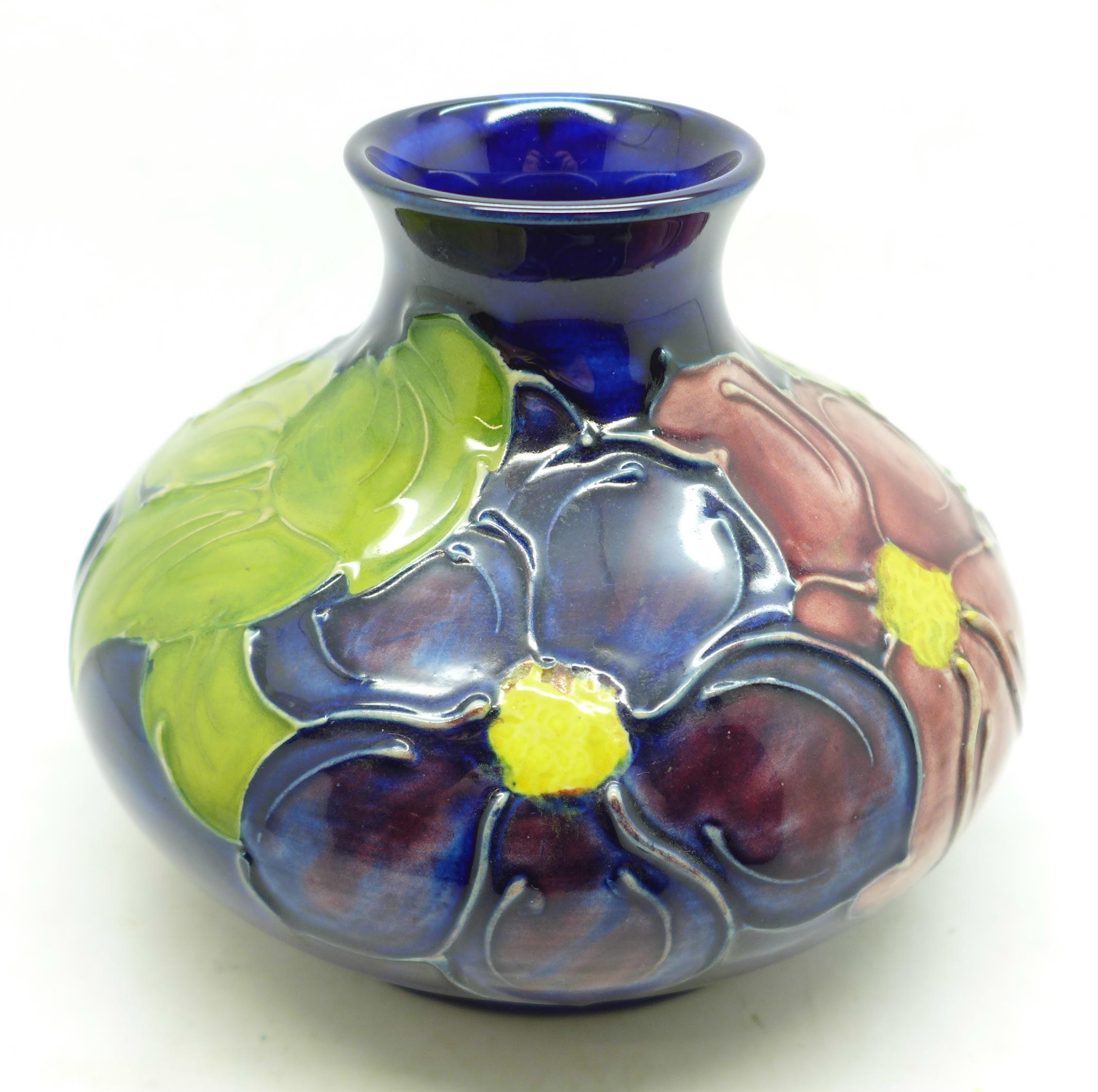 A Moorcroft clematis squat vase, 98mm