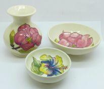 Two Moorcroft bowls and a vase, vase 9cm, (118,161,187)