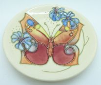 A Moorcroft butterfly dish, 1993, 12cm diameter