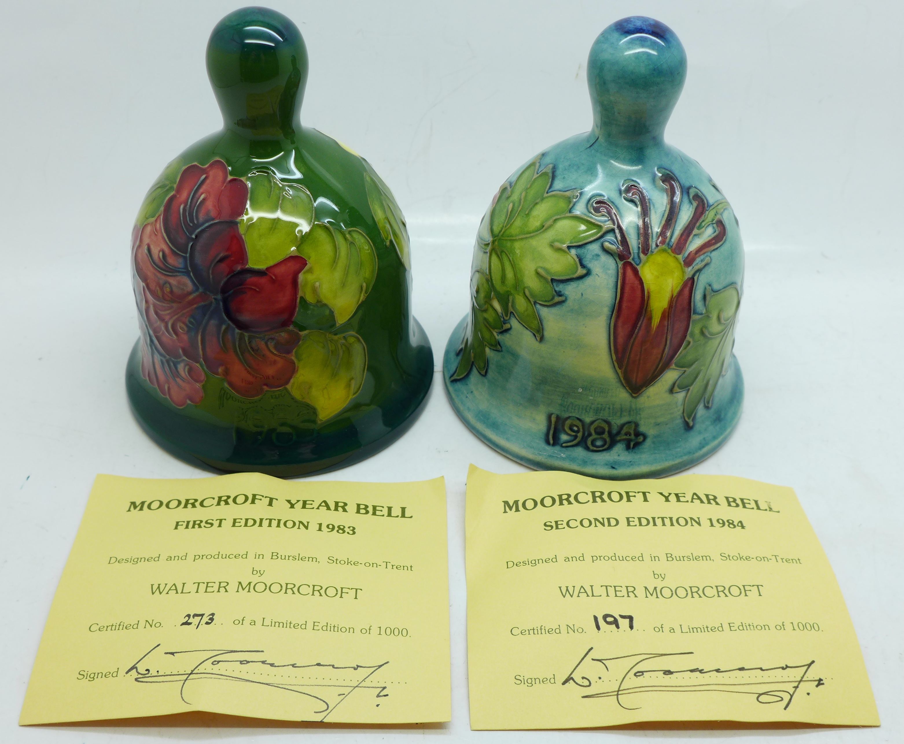 Two Moorcroft bells, hibiscus and Columbine 1984, boxed, (99, 180) - Image 8 of 8