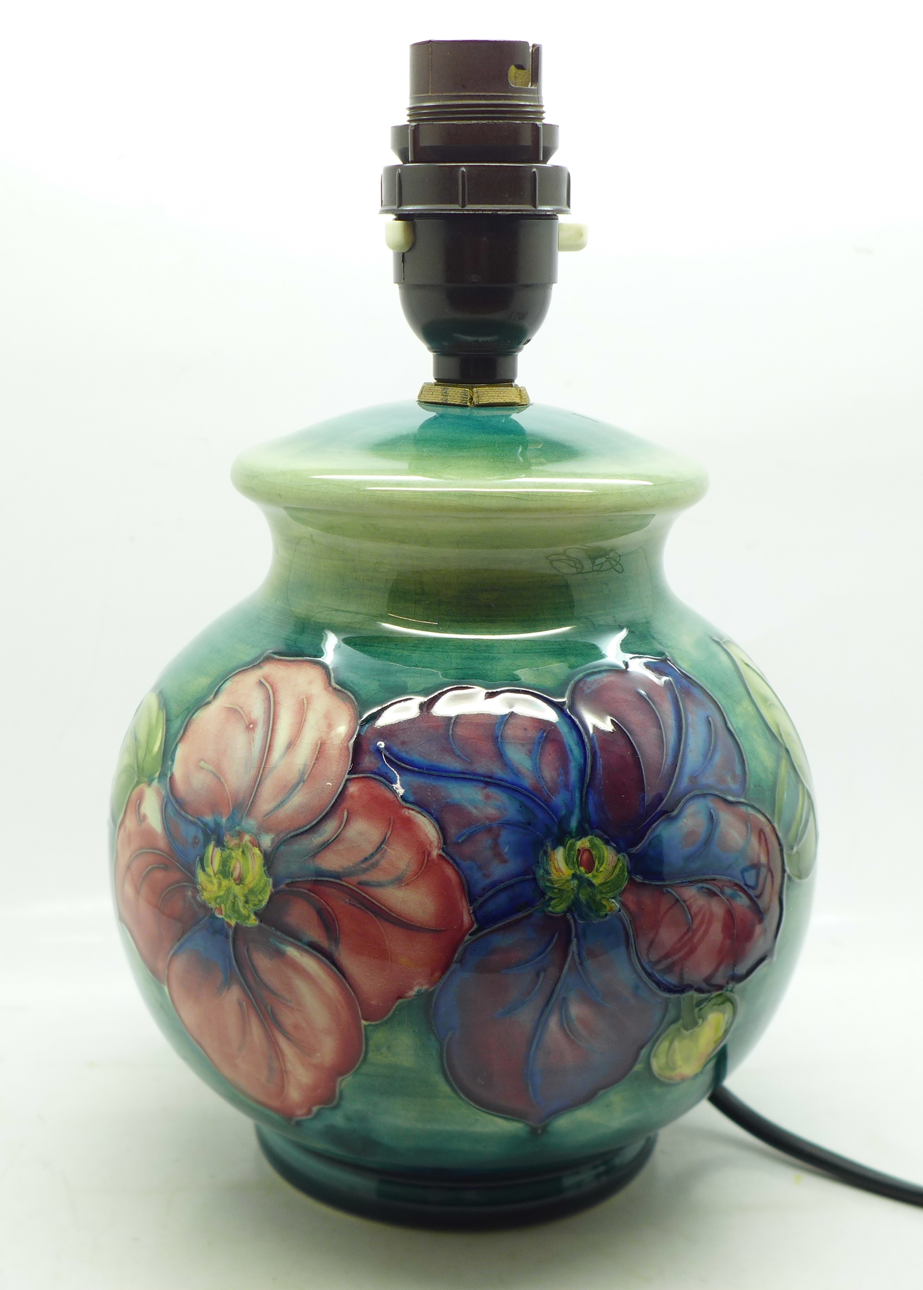 A Moorcroft clematis table lamp base, 15cm