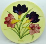 A Moorcroft Year Plate 1987, number 46, boxed, 22cm