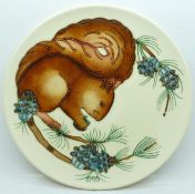 A Moorcroft Limited Edition Year Plate 1995, squirrel design, 300/500, signed and dated 4.11.95,