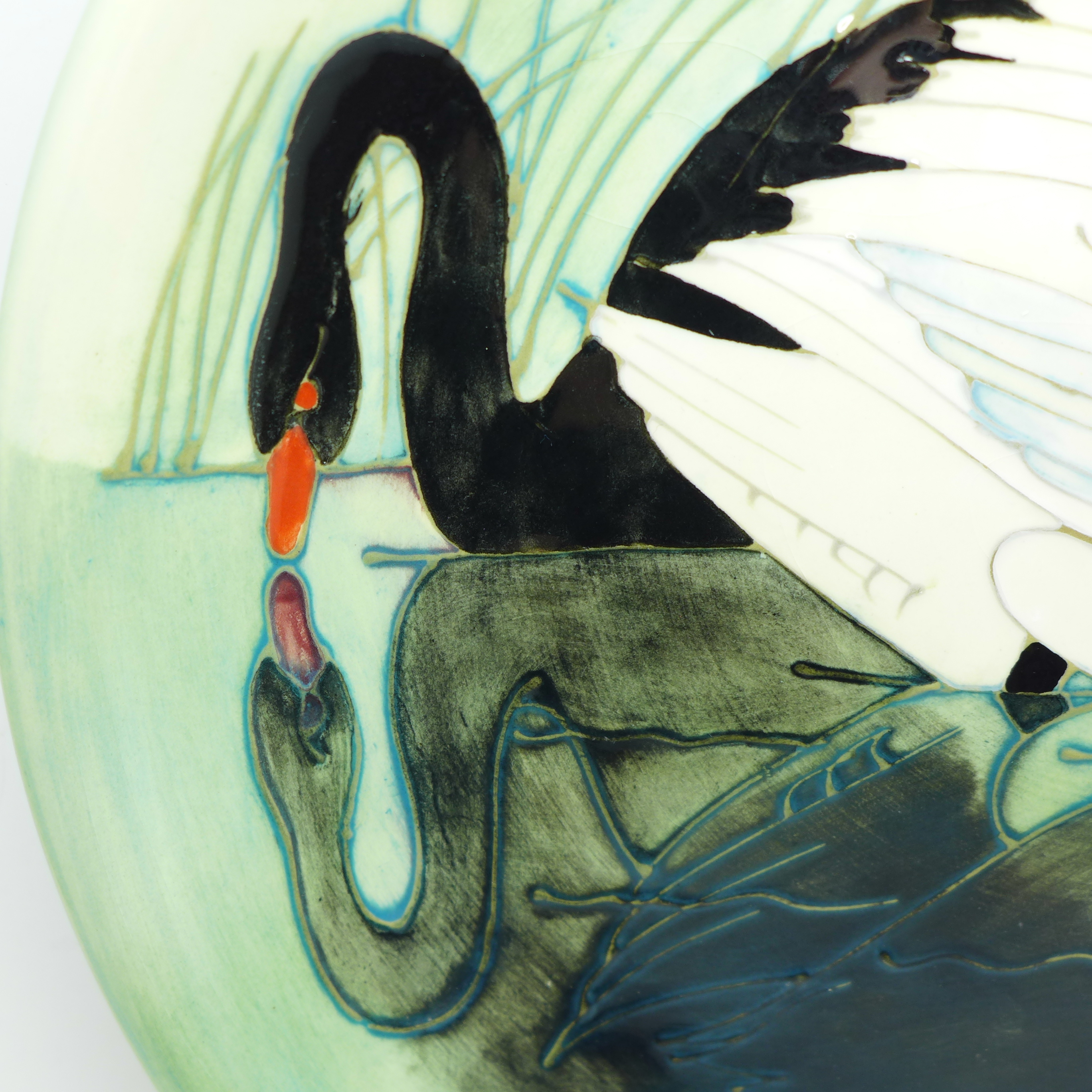 A Moorcroft Limited Edition Swan design plate, 153/350, 257mm - Image 3 of 6
