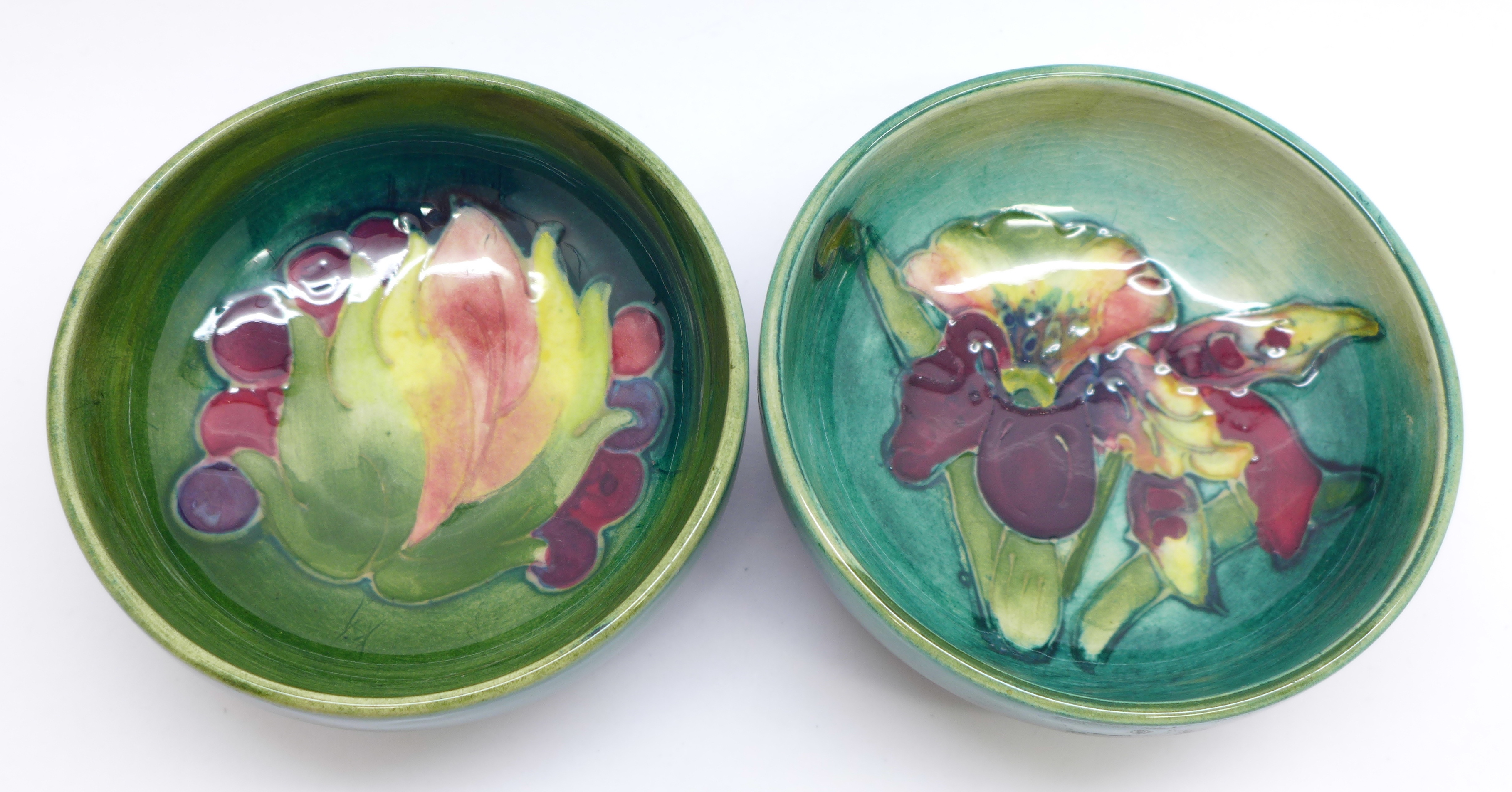 Two small Moorcroft bowls, Leaves and Fruit and orchid, 8cm diameter, (159,162) - Image 2 of 6